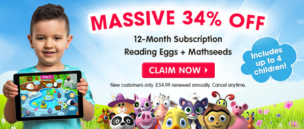 MASSIVE 34% OFF a 12-Month Subscription. Reading Eggs and Mathseeds. Includes up to 4 children. Claim Now