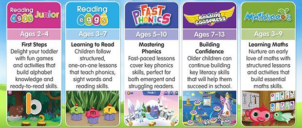Learn to Read with Reading Eggs. There are five programmes in the Reading Eggs learning suite - Reading Eggs Junior, Reading Eggs, Fast Phonics, Reading Eggspress and Mathseeds.